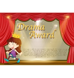 Certificate template with girl on stage vector