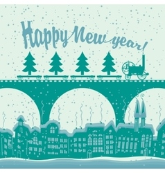 Christmas card with a vintage steam train rides vector image vector image