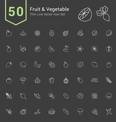 Fruit and Vegetable Thin Icon Set vector image vector image