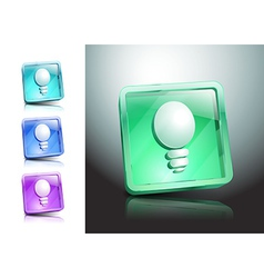 glass icons set light ideas lamp vector image vector image
