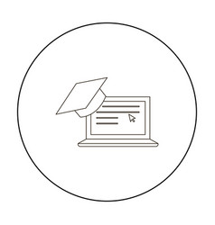 laptop icon outline single education icon from vector image vector image