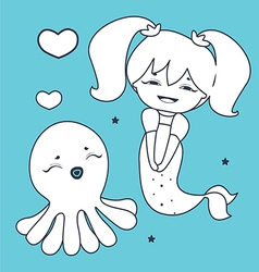 Lovely Mermaid and Octopus Coloring book vector image vector image