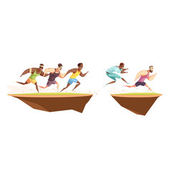 runners jump a ditch composition vector image vector image