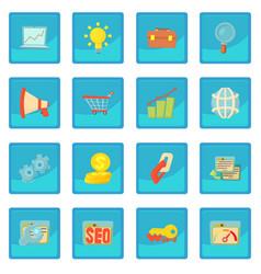 seo icon blue app vector image