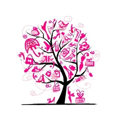 Shopping tree concept for your design vector image vector image