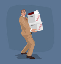 unhappy man carry boxes with personal belongings vector image vector image