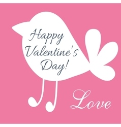 Valentine day postcard with cute bird shape vector image vector image
