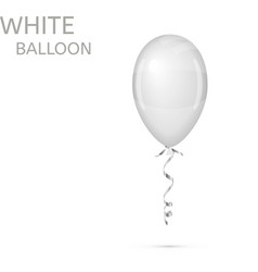 White Balloon with ribbon isolated vector image vector image