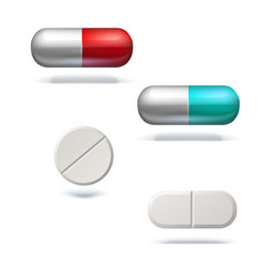 different pills and capsules for illness set of vector image