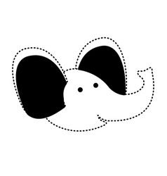 elephant cartoon head in black dotted silhouette vector image vector image