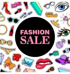 Fashion SALE Poster banner with Patch Badges vector image