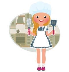 Girl cook in the kitchen vector image