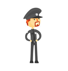 police officer character wearing uniform cartoon vector image