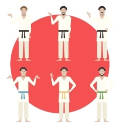 Set of Karate men vector image