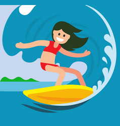 young surfer girl on the crest wave vector image