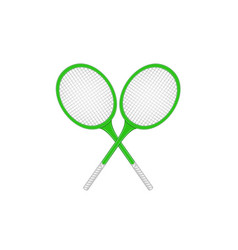 crossed tennis rackets in retro design vector image vector image