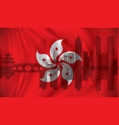 flag of hong kong with skyline vector image