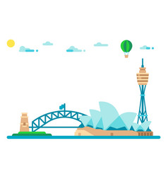Flat design sydney landmarks cityscape vector