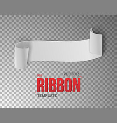 White Ribbon Banner 3D Realistic vector image vector image