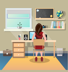 woman sitting at a desk and working on the vector image vector image