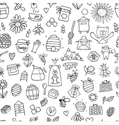 honey apiary seamless pattern sketch for your vector image vector image