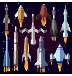 icons set of space rockets vector image vector image