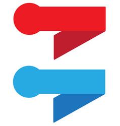 red and blue ribbon banner vintage sign ribbon vector image