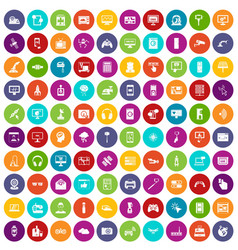 100 software icons set color vector