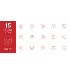 15 smiley icons vector