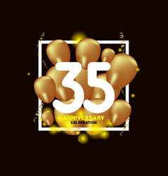 35 year anniversary white gold balloon template vector