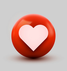 3d heart ball sign emoticon icon design for social vector image