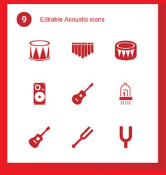9 acoustic icons vector image