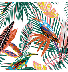 abstract tropical birds in jungle seamless vector image