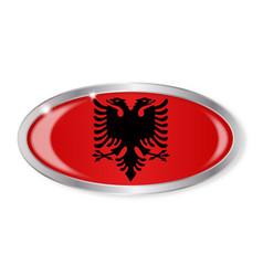 Albanian flag oval button vector