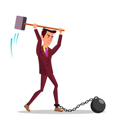 angry businessman cutting iron chain with big vector image