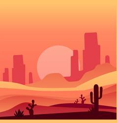 Arizona desert with cactus plants and rocky vector