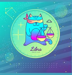 Astrology libra zodiac sign funny cat vector