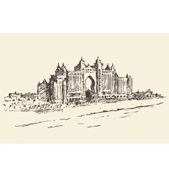 Atlantis Palm hotel Dubai United Emirates drawn vector image