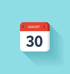 August 30 Isometric Calendar Icon With Shadow vector
