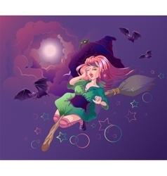 Beautiful witch woman flying on broomstick vector image