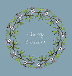 bluuming himalayan cherry wreath vector image