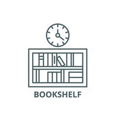 bookshelf with clock line icon bookshelf vector image
