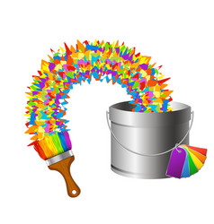 brush and paint bucket vector image