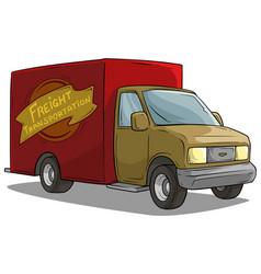 cartoon freight transportation red cargo truck vector image
