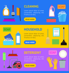 cartoon household cleaning banner horizontal set vector image