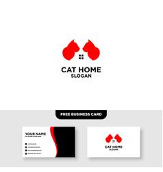 Cat logo template free business card mockup vector