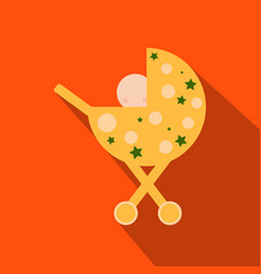 Child in a stroller flat square icons with long vector