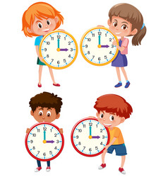 children holding clock on white background vector image
