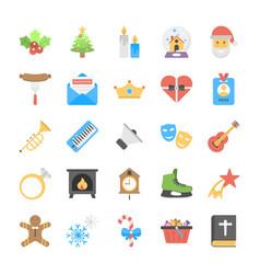 Christmas and holiday season flat icons vector