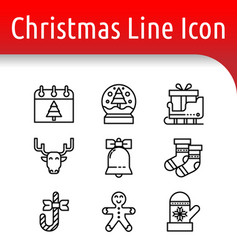 christmast line icon vector image